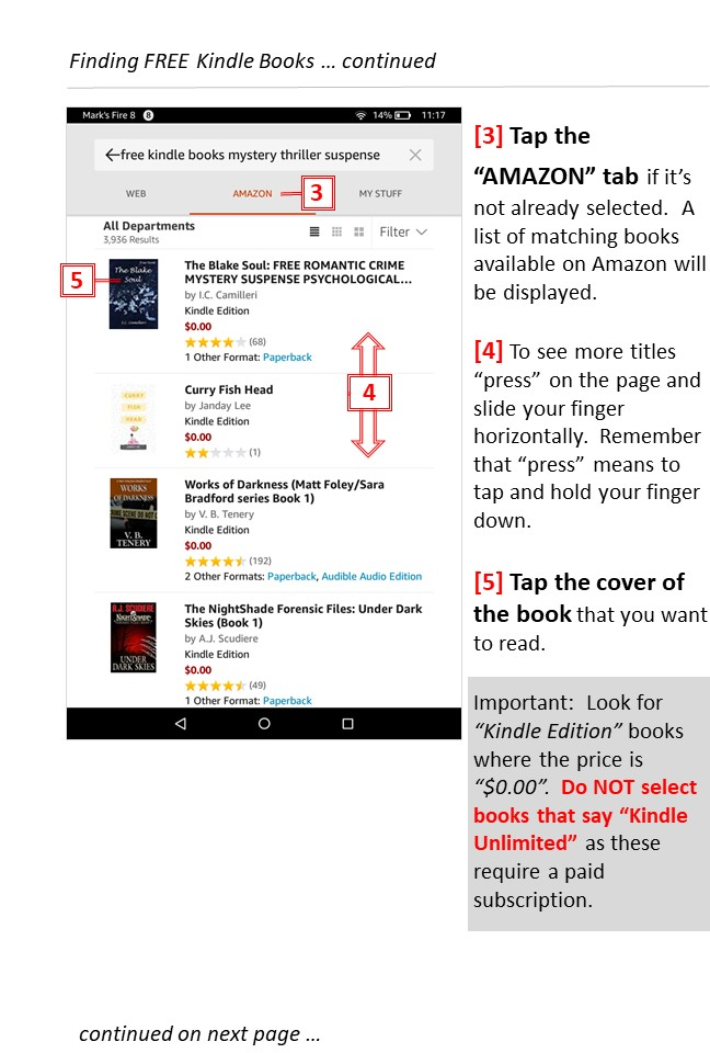 Simple Steps for finding free Kindle books -page 1 - Teaching technology to seniors.